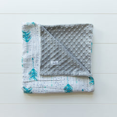 Grey Minky Dot/Muslin Receiving Blanket