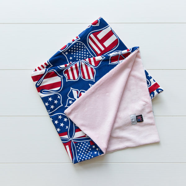 Patriotic Baby Blankets available in pink or blue