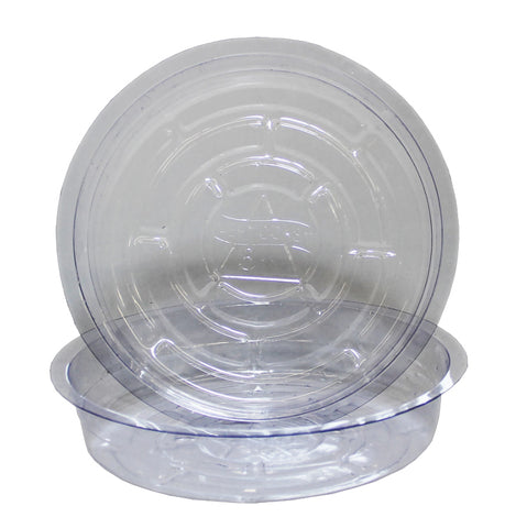 Clear round plastic saucer