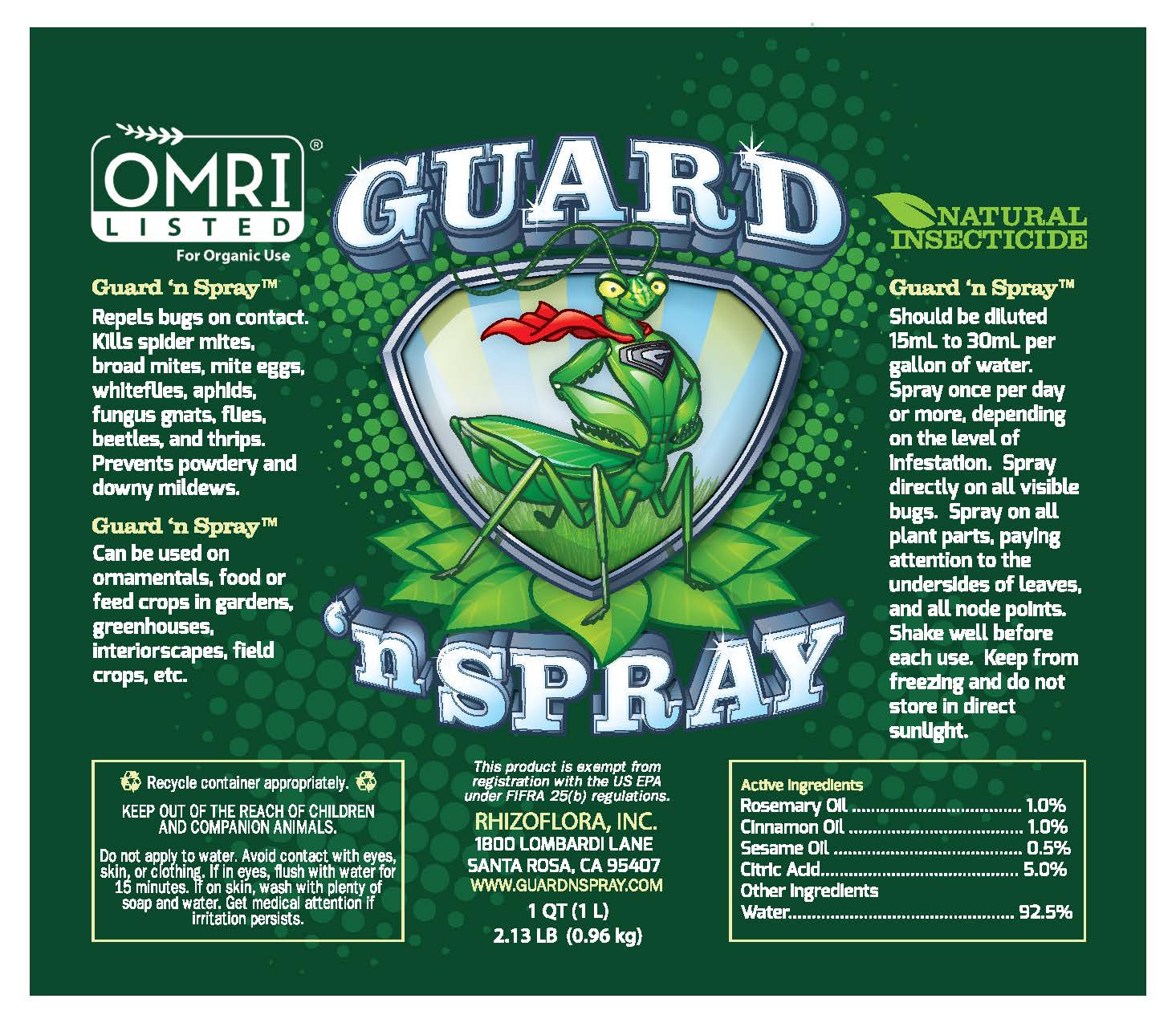 Guard 'n Spray Concentrate - OMRI Listed - Organic Pest Control - Geopot.com