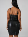 Baddie Leather Midi Dress