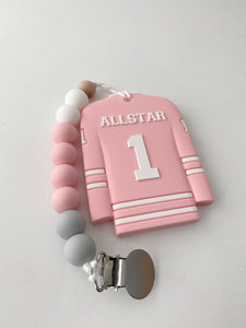 Jersey teether with clip