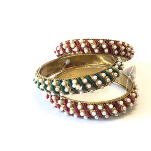 Red Beads & Pearl Bangles