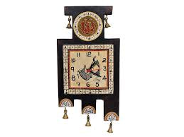 WALL CLOCK WITH ANTIQUE DHOKRA AND WARLI ARTWORK