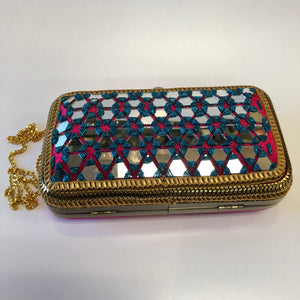 Mirror Work Clutch Bag
