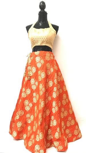 Jamawar silk skirt- Rust