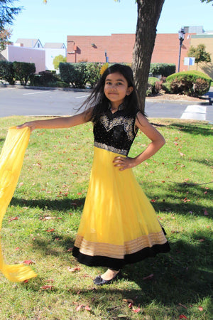 Net & Velvet Fancy Anarkali - Yellow and Black