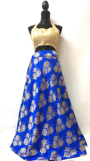 Jamawar silk skirt- Blue
