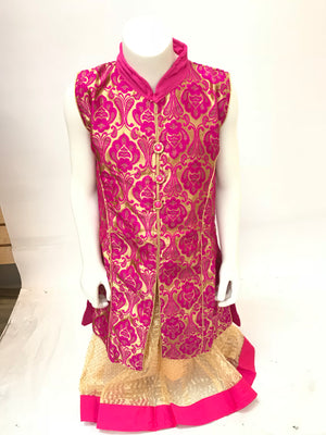 Girls brocade lehnga kameez