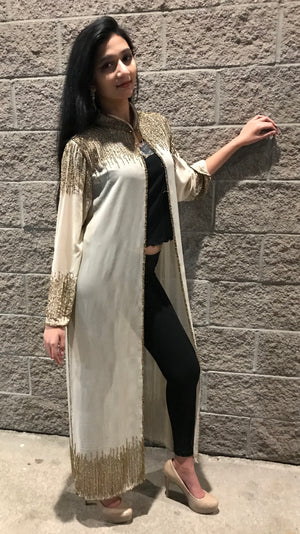 Beaded Long Drape/Jacket /Cape - (GREY)