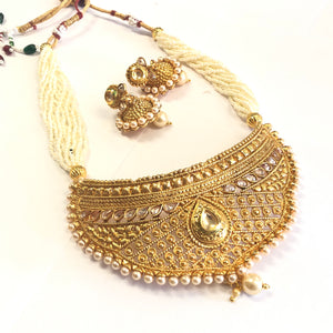 Gold Polished Necklace Set