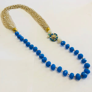 Rajasthani pedant and bead Necklace - Blue