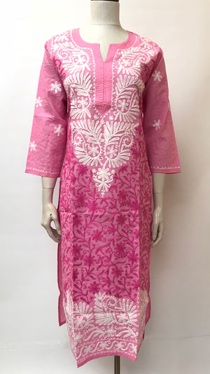Chikhankari Embroidered Long Cotton Kurta