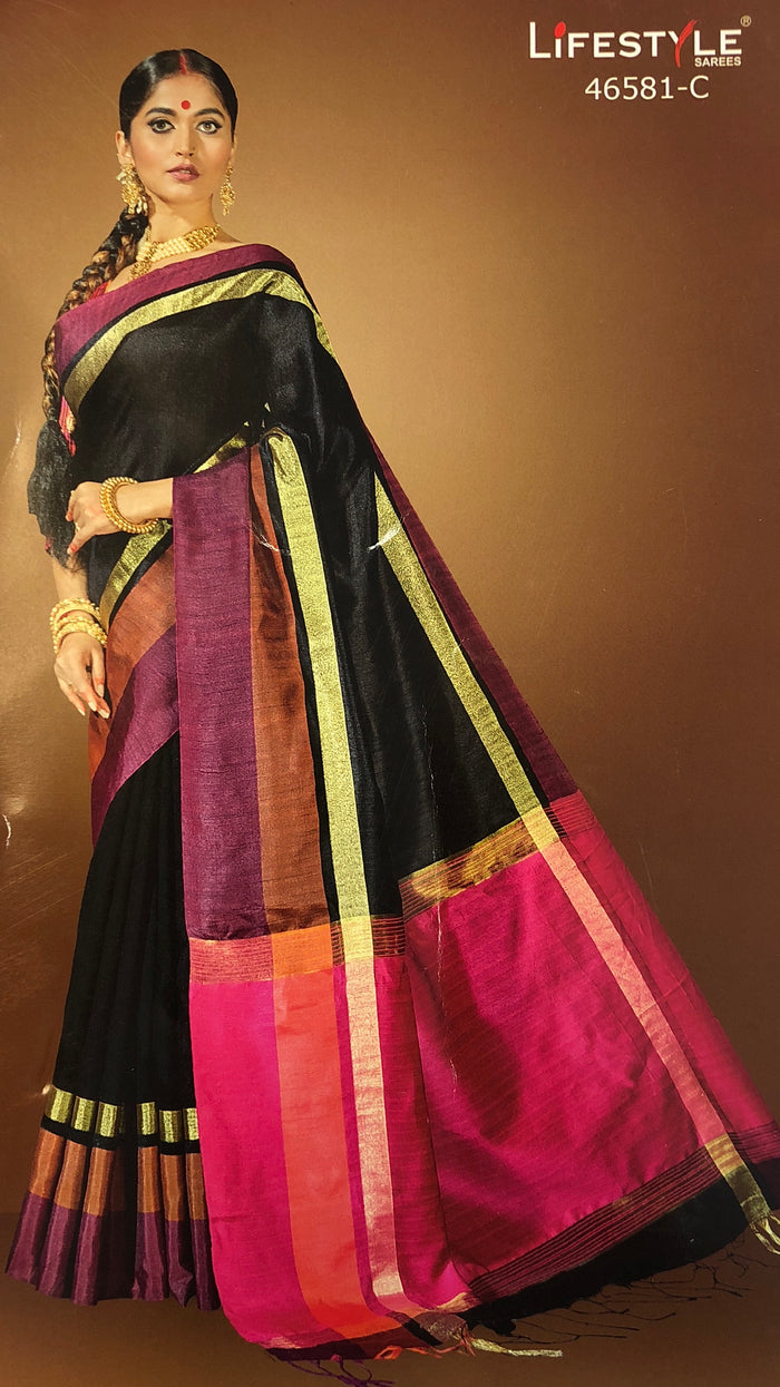 Broad Multicolored Border Silk Saree