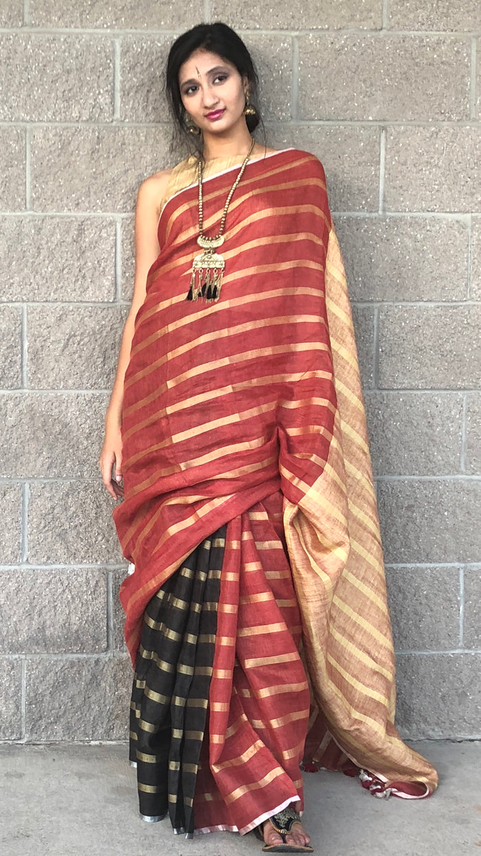 Black/Red linen Saree with Gold Zari