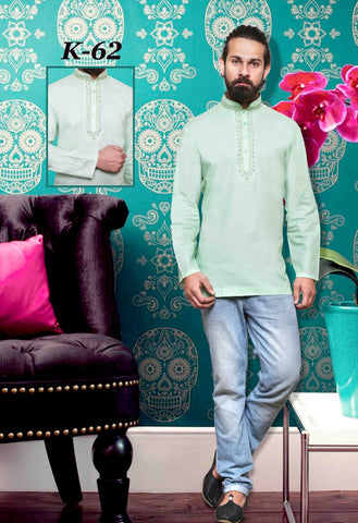 MEN'S LINEN COTTON EMBROIDERED SHORT KURTA - GREEN