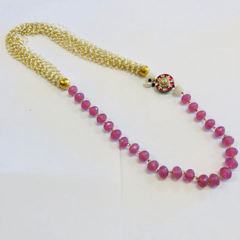 Rajasthani pedant and bead Necklace - Lavender