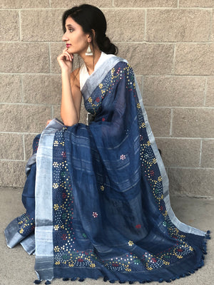 Blue linen Saree with mirror embroidery
