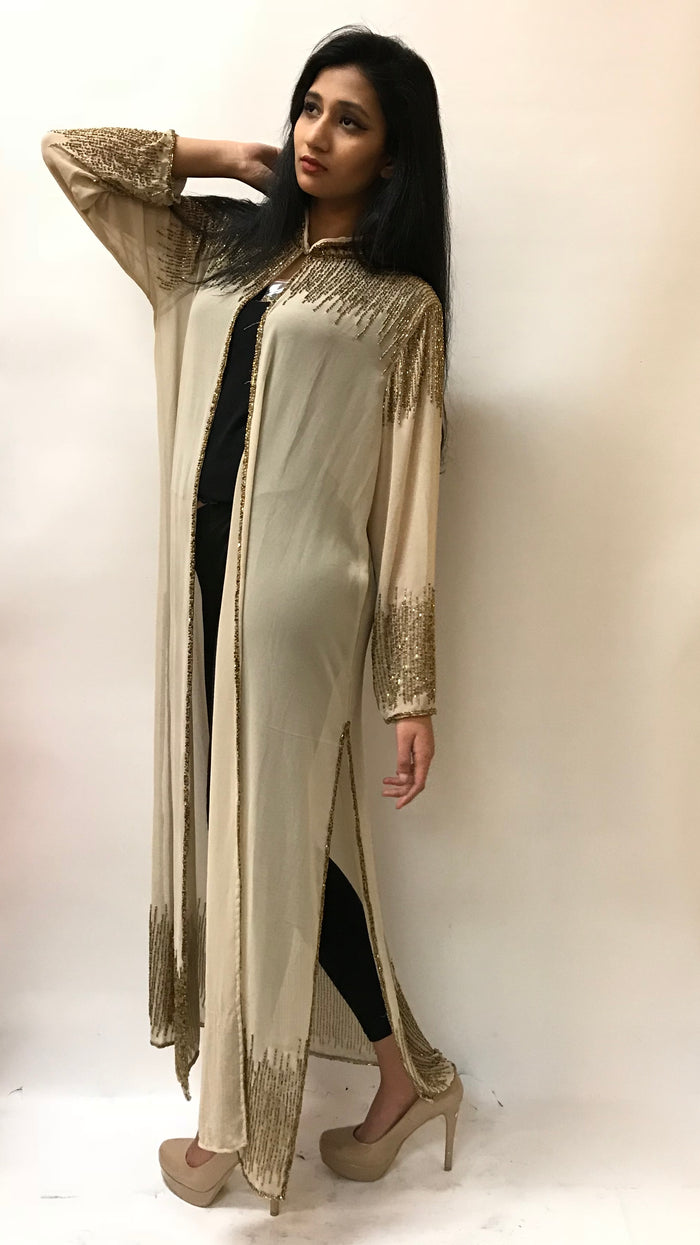 Beaded Long Drape/Jacket /Cape- Gold