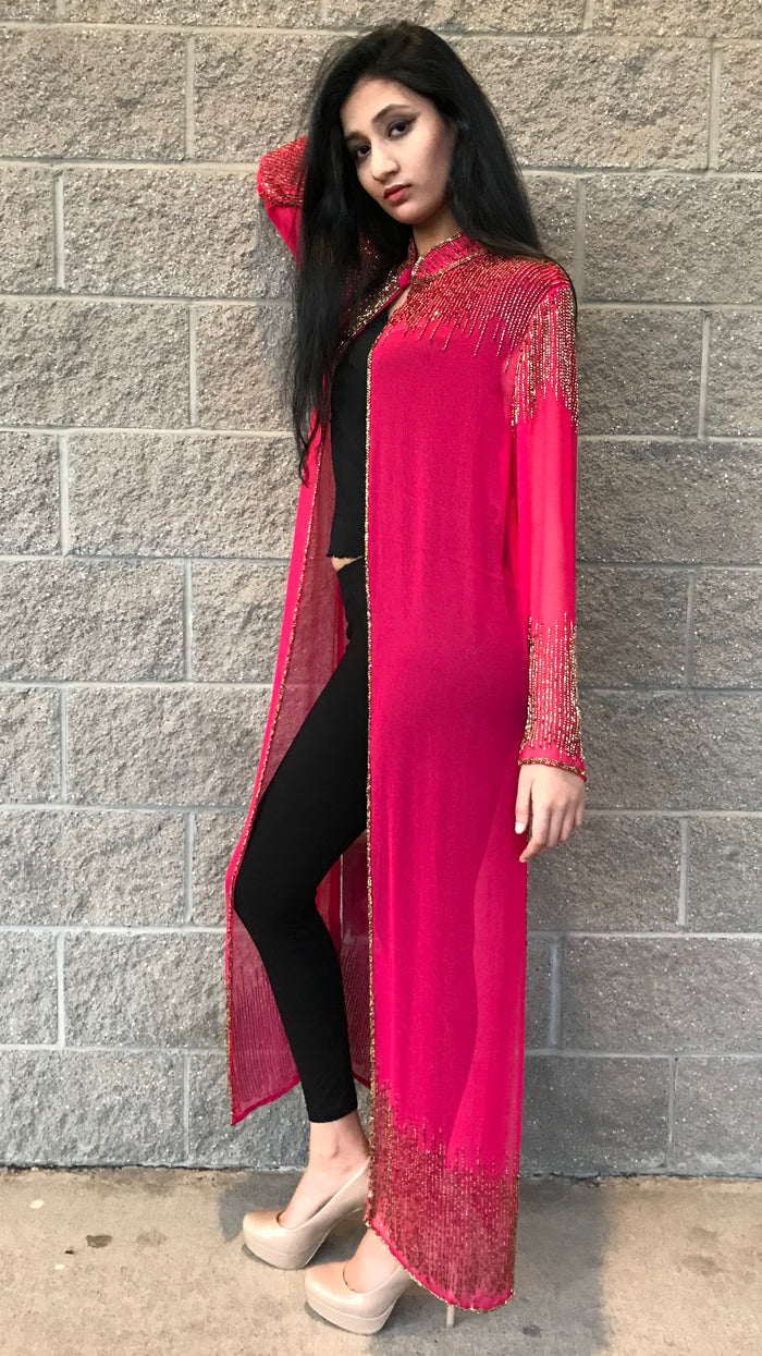 Beaded Long Drape/Jacket /Cape - PINK