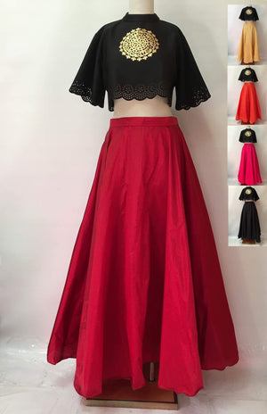 PLAIN SILK LONG SKIRT