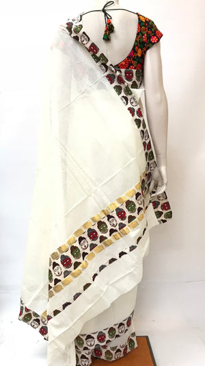 Kerala Cotton Kalamkari Saree