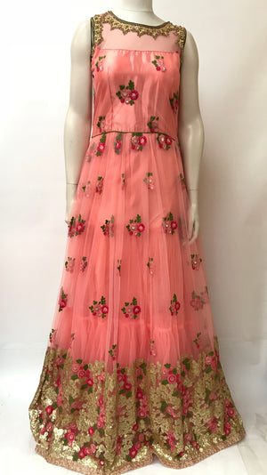 Long floral embroidery dress