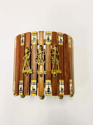Handcrafted Warli and Dhokra Art Wall Lamp