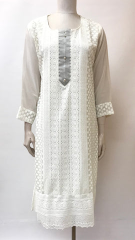 Georgette Hand Embroidered Kurta