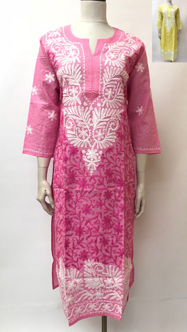 Kashmiri Embroidered Long Cotton Kurta