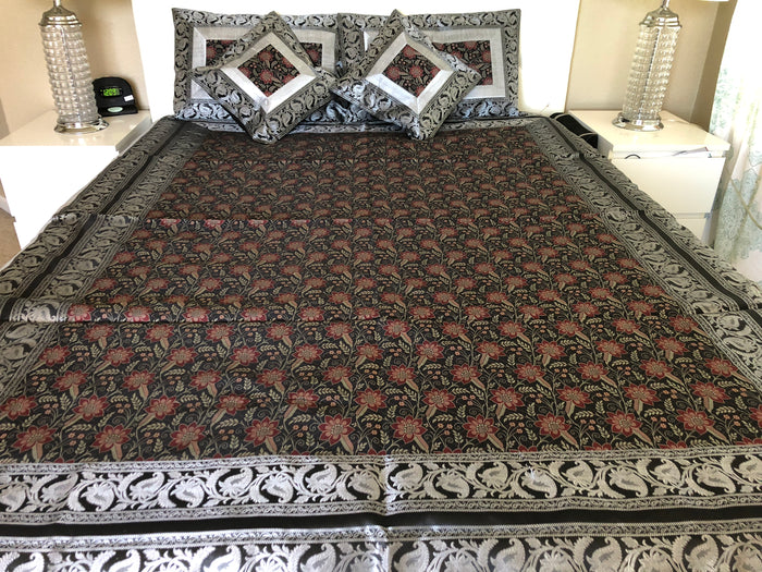 Brocade Bed Sheet/Duvet cover set with pillow cases and, traditional weaves of India