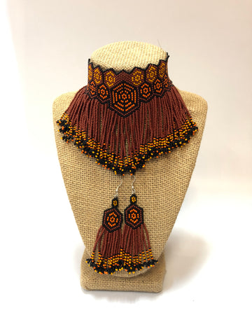 Handmade Beaded Necklace Earrings Set