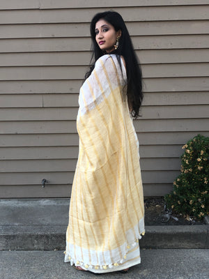 Offwhite linen with Gold Zari Sari