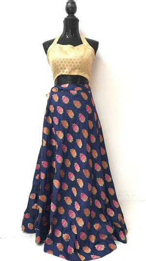 Jamawar Silk Skirt- Navy Blue