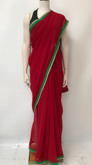 Georgette Saree with Decorative Border -Maroon