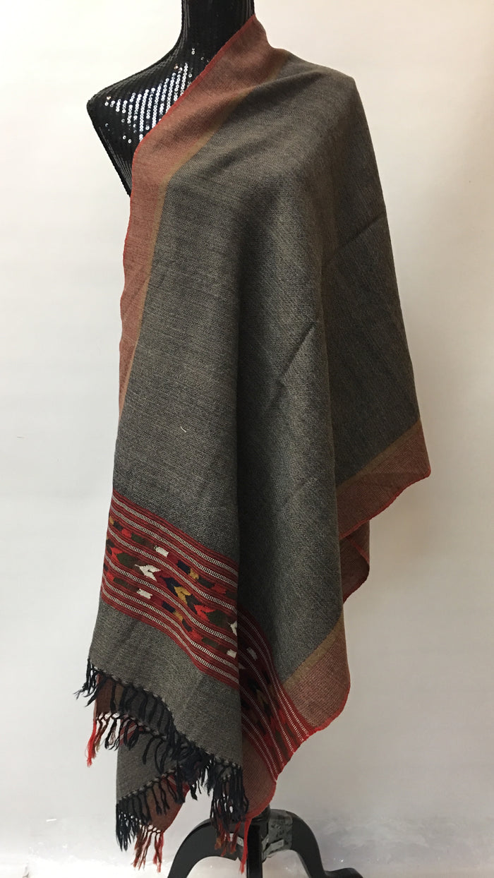 Kullu Handmade/Handloom Wool Shawl/Stole Large Wrap Scarf Throw/Woolen Blanket Grey