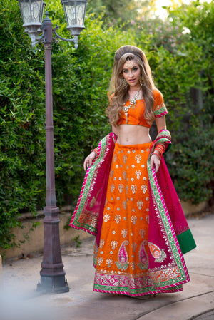 Silk Bridal Lehengha-Orange - Sarang