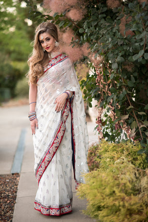 Beautiful  Designer White Saree With Border - Sarang