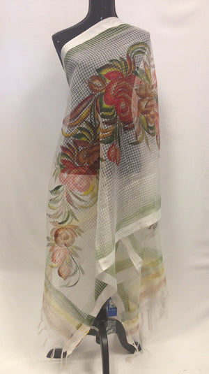 Handpainted Cotton Dupatta With Beautiful Floral Painting- Off White - 3