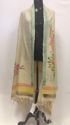 Handpainted Dupatta - Cream002 - Sarang