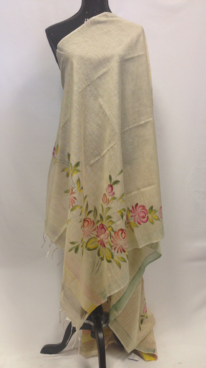 Handpainted Dupatta - Cream002