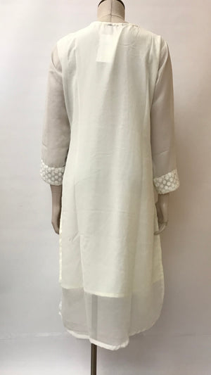 Georgette Hand Embroidered KurtA- off white