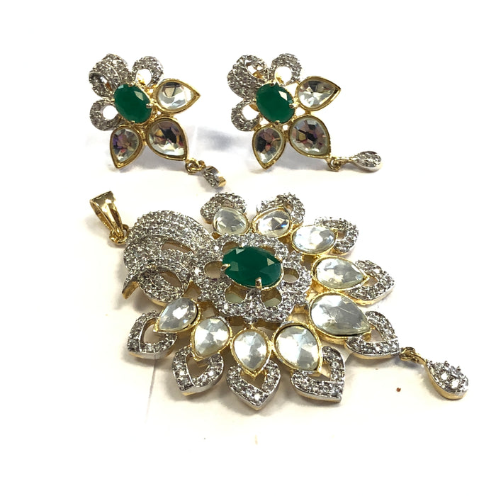Semi Diamond Pendant Set - Silver