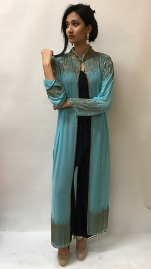 Beaded Long Drape/Jacket /Cape -FIROZI