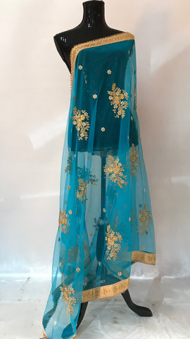Embroidered skyblue blue Net Dupatta