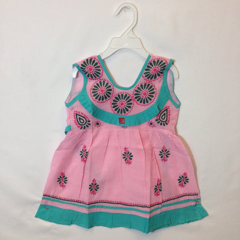 Girls Frock - Light Pink & Turquoise Green - 1