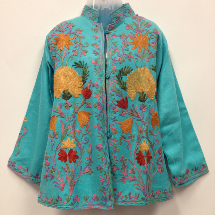 Kashmiri Embroidery Silk Jacket