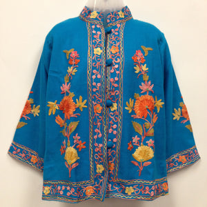 Kashmiri Embroidery Silk Jacket - Blue - Sarang