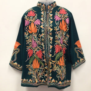 Kashmiri Embroidery Silk Jacket - Sarang