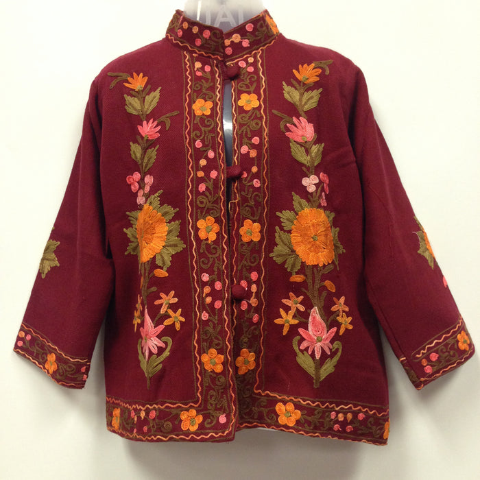 Kashmiri Embroidery Silk Jacket - Maroon